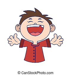 Cartoon happy boy laughing icon, colorful design