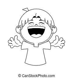 cartoon happy boy laughing icon, flat design