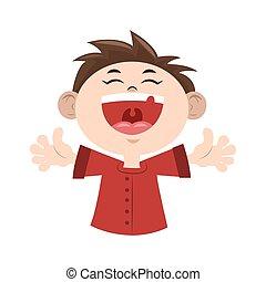Cartoon happy boy laughing icon