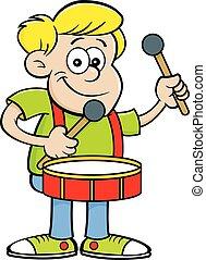 Cartoon happy boy playing a drum.