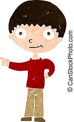 cartoon happy boy pointing