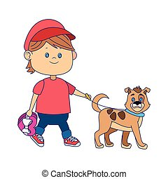 cartoon happy boy walking with cute dog