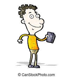 cartoon happy boy with book