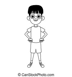 cartoon happy boy with glasses standing