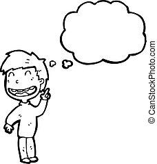 cartoon happy boy with idea