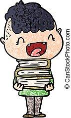 cartoon happy boy with new books