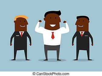 Cartoon happy businessman with bodyguards