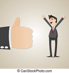 cartoon happy businessman with thumb up - illustration of...