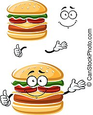 Cartoon happy cheeseburger with thumb up