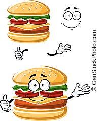 Cartoon happy cheeseburger with thumb up