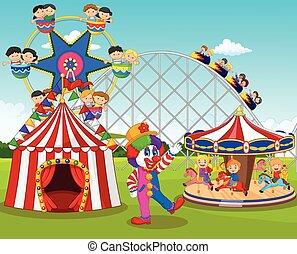 Cartoon happy children and clown - Vector illustration of...