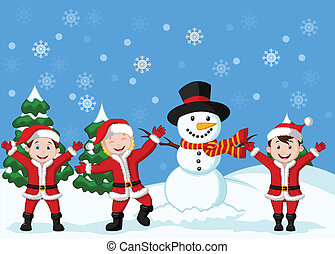 Cartoon Happy children in Santa Cos