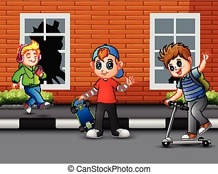 Cartoon happy children playing on the road