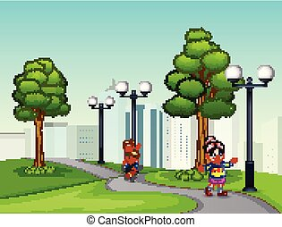 Cartoon happy children running on the park road