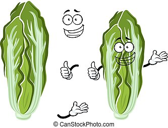 Cartoon happy chinese cabbage vegetable - Green and white...
