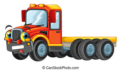 cartoon happy cistern truck isolated on white background - illustration for children