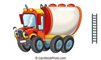 cartoon happy cistern truck like monster truck isolated on white background - illustration for children
