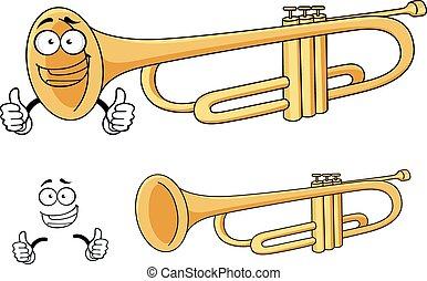 Cartoon happy classic brass trumpet character