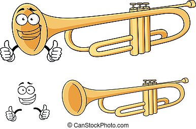 Cartoon happy classic brass trumpet character