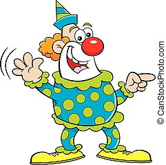 Cartoon happy clown pointing while waving.