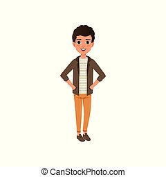 Cartoon happy curly-haired kid in brown jacket, striped t-shirt and orange pants. Trendy teenage outfit. Kid character standing with arms akimbo. Flat vector design