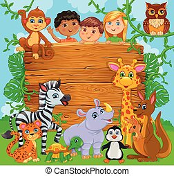 Cartoon happy cute kids with animal. Wooden banner.