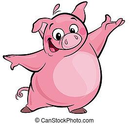 Cartoon happy cute pink pig character presenting