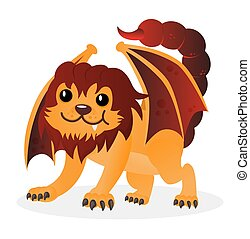 Cartoon happy cute vector little playful manticore. Funny chimera or sphinx. Design for print, emblem, t-shirt, party decoration, sticker, logotype.
