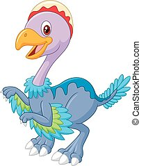 Cartoon happy dinosaur archaeoptery