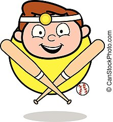 Cartoon Happy Doctor Face with Baseball Bat Vector