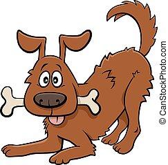 cartoon happy dog animal character with bone