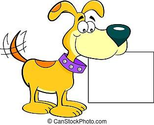 Cartoon happy dog holding a sign.