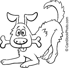 cartoon happy dog with bone coloring book page