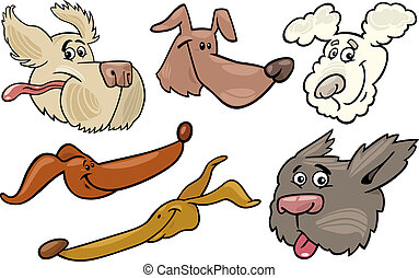Cartoon happy dogs heads set - Cartoon Illustration of...