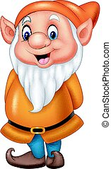 Cartoon happy dwarf isolated on white background