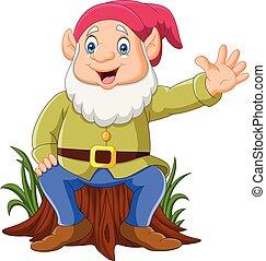 Cartoon happy dwarf sitting on tree stump