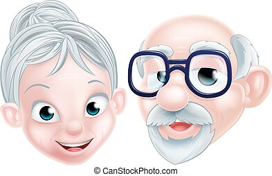 Cartoon Happy Elderly Couple