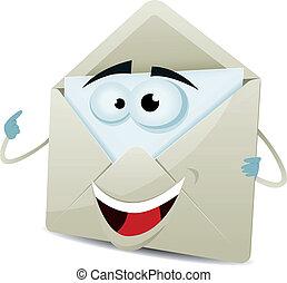 Cartoon Happy Email Character