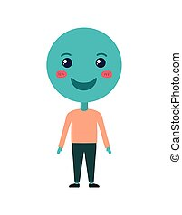 cartoon happy emoticon with body kawaii character
