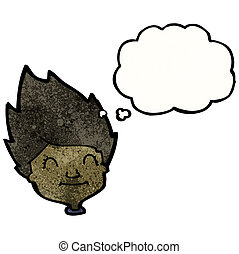 cartoon happy face with thought bubble