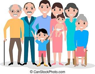 Cartoon happy family. Big lovely family portrait