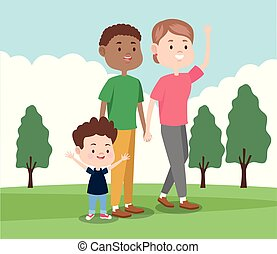 cartoon happy family with little kid, colorful design