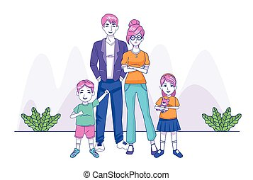cartoon happy family with little kids, colorful design