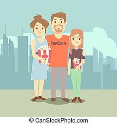 Cartoon happy family with popcorn on city landscape