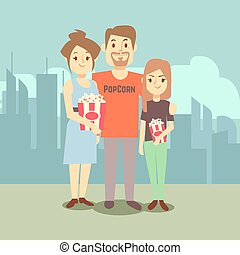 Cartoon happy family with popcorn on city landscape