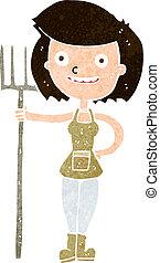 cartoon happy farmer girl