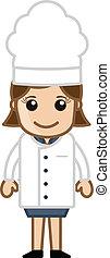 Cartoon Happy Female Chef Character