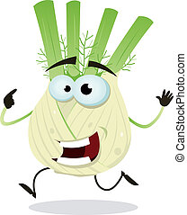Cartoon Happy Fennel Character - Illustration of a funny...