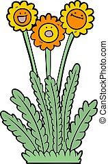 cartoon happy flowers