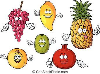 Cartoon happy fresh fruits characters - Happy fresh...